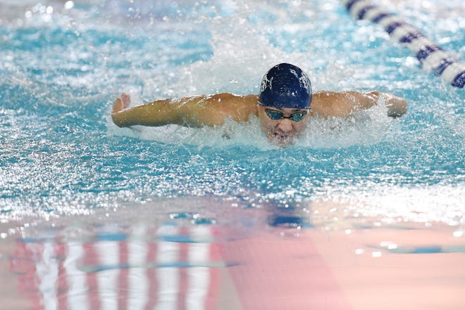 Mountain Lakes vs. Demarest in the NJSIAA North I-C final at Passaic County Technical Institute in Wayne on Thursday, February 14, 2019. Tim Park, of Demarest, in the 100 Fly.