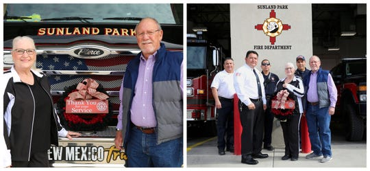 On the left, Lanna and Ken Posey, President of the Edgeomont Homeowners Association. On the right, Battalion Chief, Ramiro Rios, Fire Chief, Andres Burciaga, Lt. Freddy Marquez, Lanna Posey, Driver/Operator, Franciso Diaz and Ken Posey, HOA President.