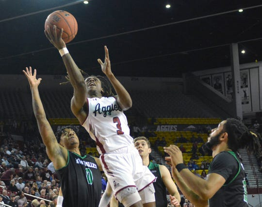 New Mexico State guard Terrell Brown was a All WAC first team selection this season.