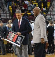 NM State great Jimmy Collins was recognized at halftime on Thursday.