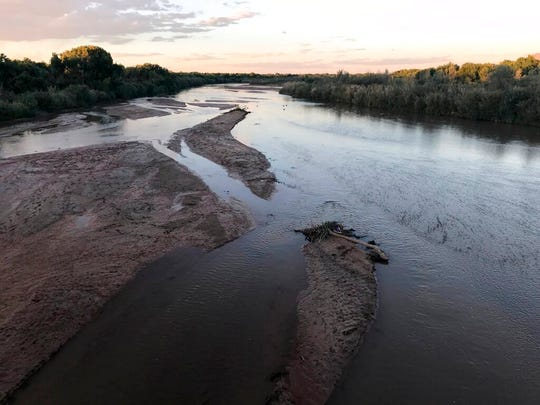 This Sept. 11, 2018 image shows sand bars developing in the Rio Grande as it flows through Albuquerque. National forecasters and climate experts warned Thursday, Feb. 14, 2019, that despite descent snowpack in some parts of the southwestern United States, already low soil moisture levels will keep more of the spring runoff from reaching streams, rivers and reservoirs.