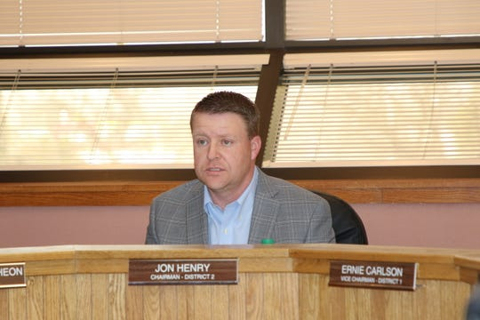 District 2 Eddy County Board of Commissioner Jon Henry speaks during a special meeting Feb. 13.