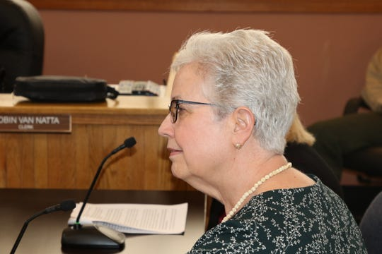 Eddy County Assessor Gemma Ferguson listens during an Eddy County Board of Commissioners meeting Feb. 13 on a five-day work week for county employees.