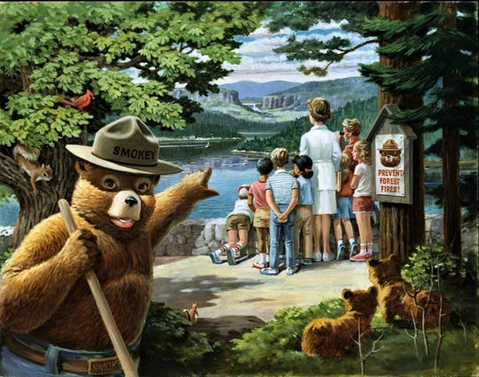 "Protect Nature's Beauty for Future Generations"" by Rudolph ""Rudy"" Wendelin is indicative of Wendelin's personification of Smokey Bear. The original image was completed with alkyd oil on a Fredrix canvas panel."