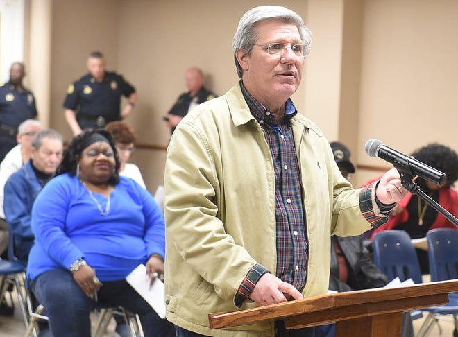 Opelousas City Engineer William Jarrell addresses the Opelousas Board of Aldermen on Tuesday night to explain the costs of upgrading the municipal wastewater treatment plant.
