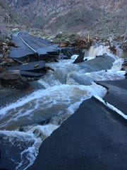 Tramway Road near the tram sustained damage after flooding eroded parts of the lane on Feb. 14, 2019. The Palm Springs Aerial Tramway is expected to remain closed until April 1 while damage is repaired and debris is removed.