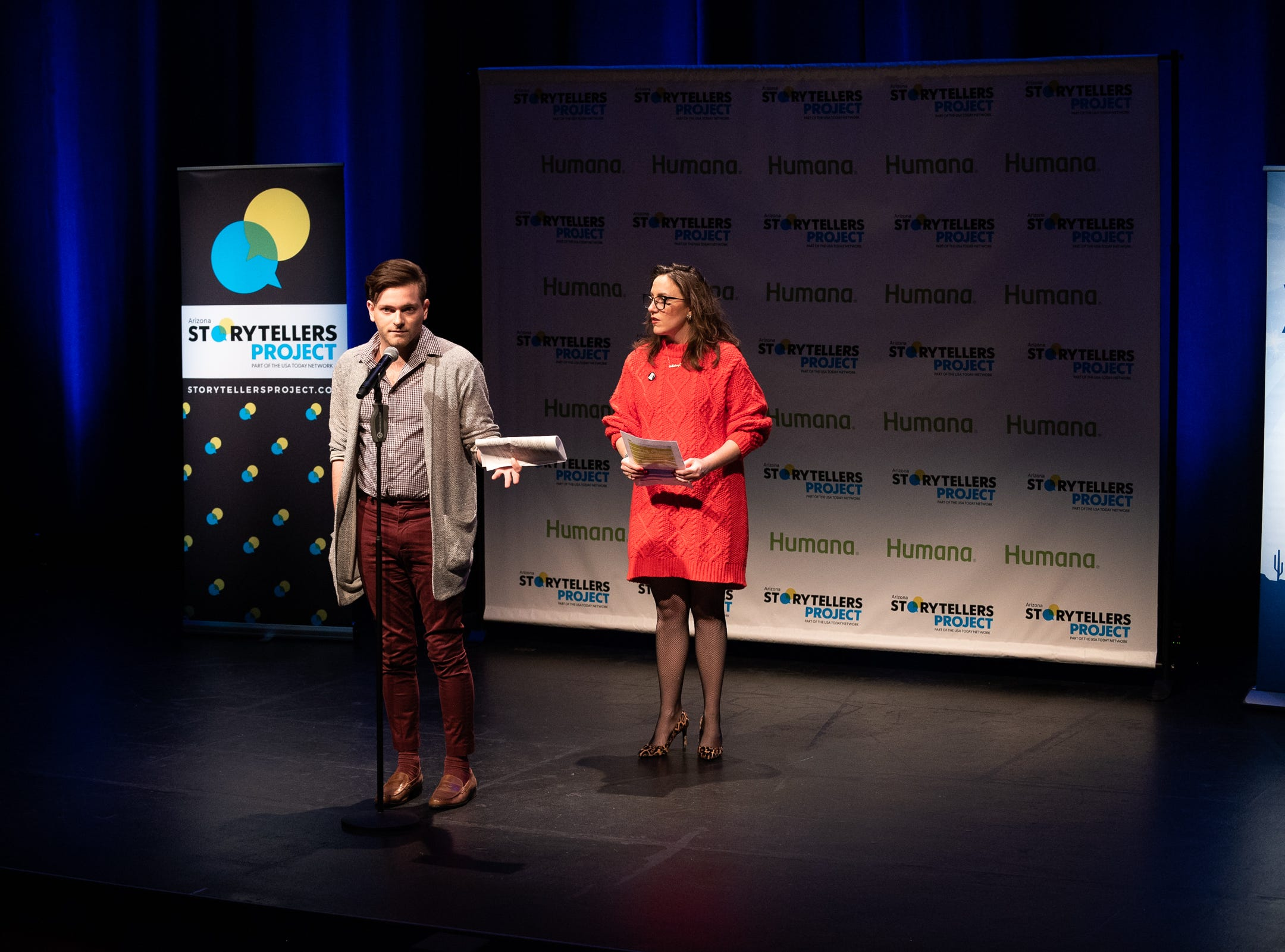 Co-Hosts Garrett Mitchell and Megan Finnerty warm  up the crowd and announce the next storyteller during The Storytellers Project presents Romance - or Not at the Scottsdale Center for Performing Arts on Wednesday, Feb. 13, 2019.