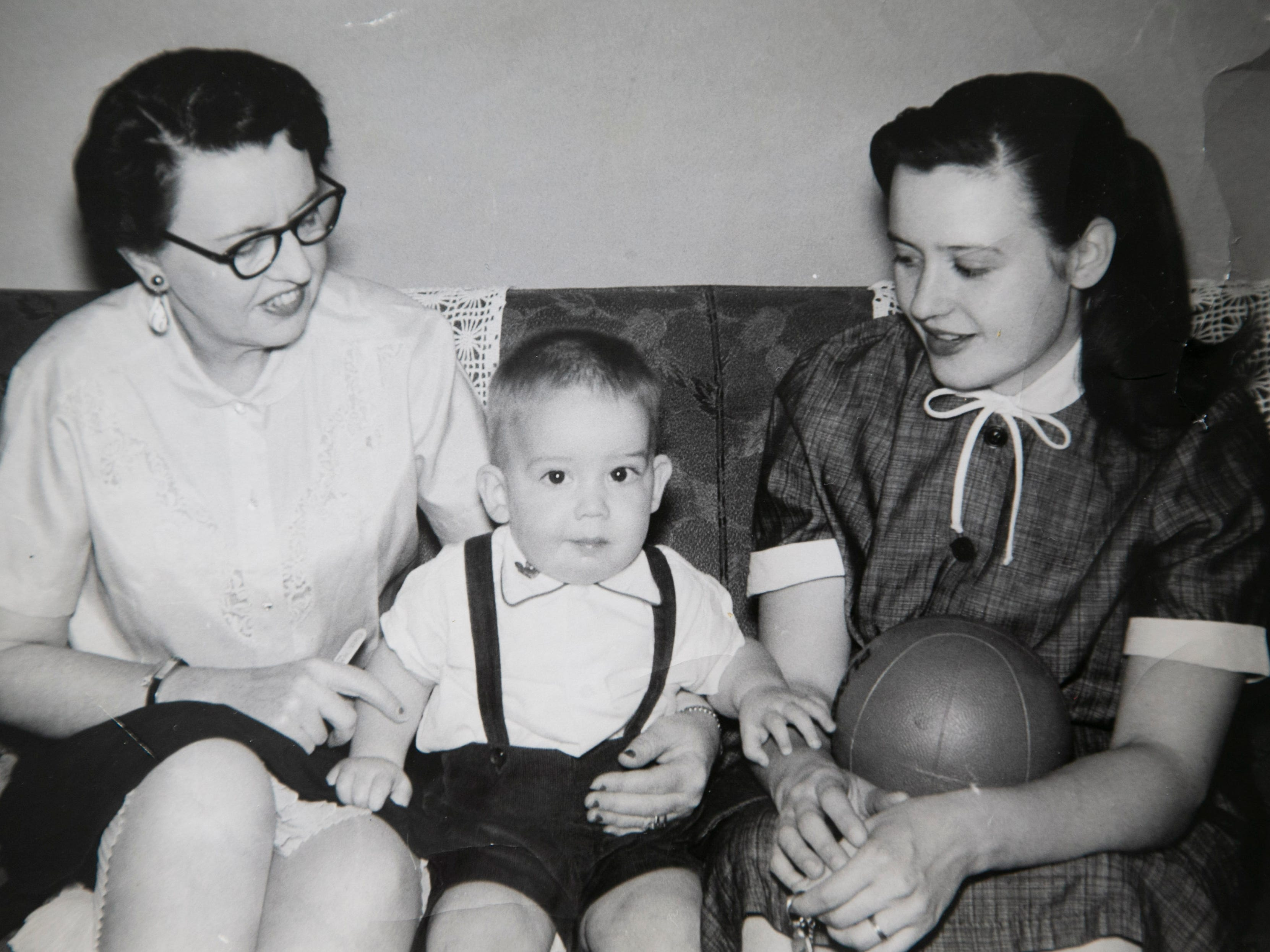 Michael Crow with his mother, Beverly (right), and grandmother Ruth in Des Moines, Iowa, in 1956.