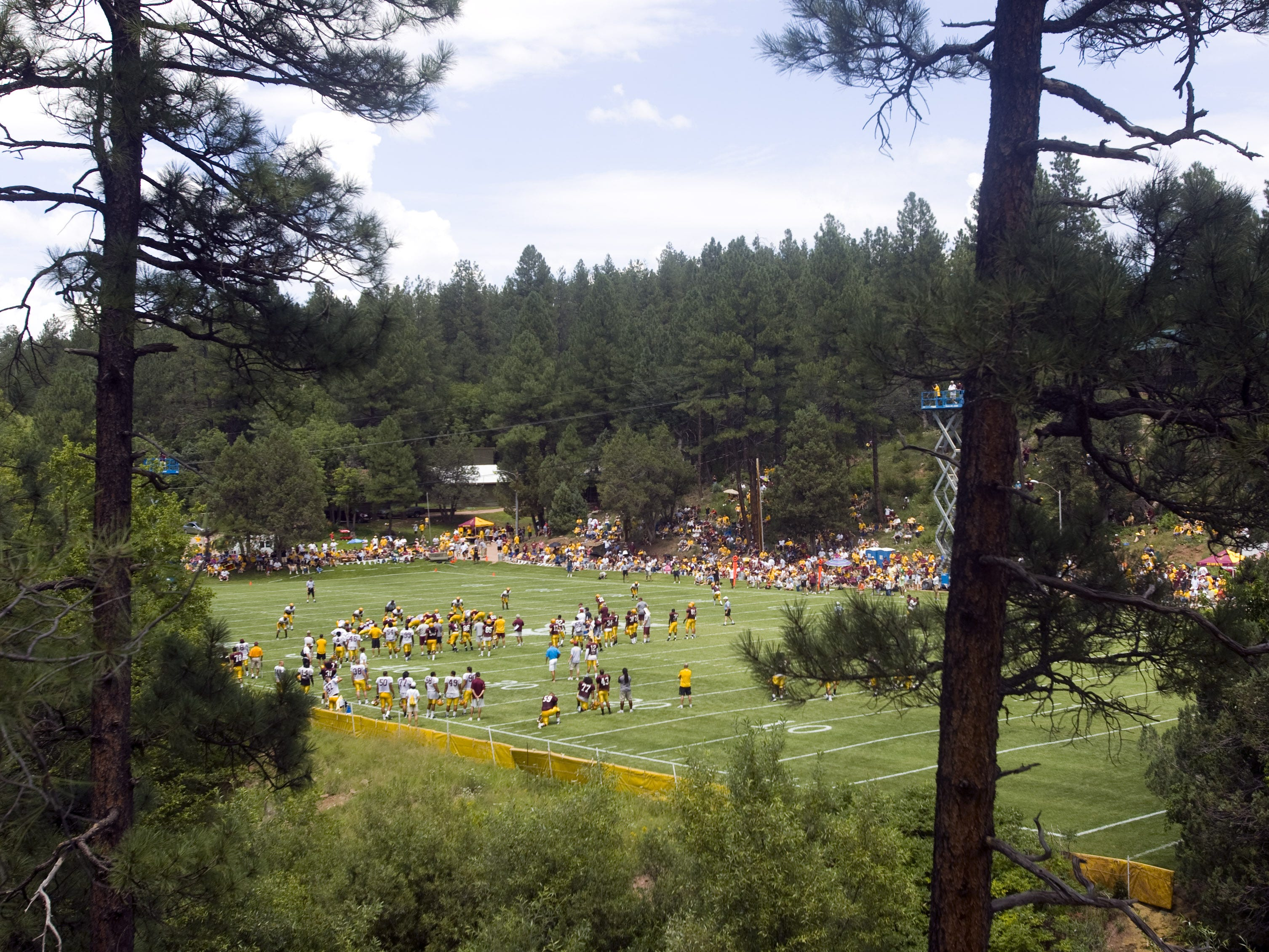 ASU holds an intra team scrimmage at Camp Tontozona, east of Payson, on Aug. 16, 2008. Camp Tontozona has been updated with no cabins, lodges and a second field since Michael Crow became ASU president.