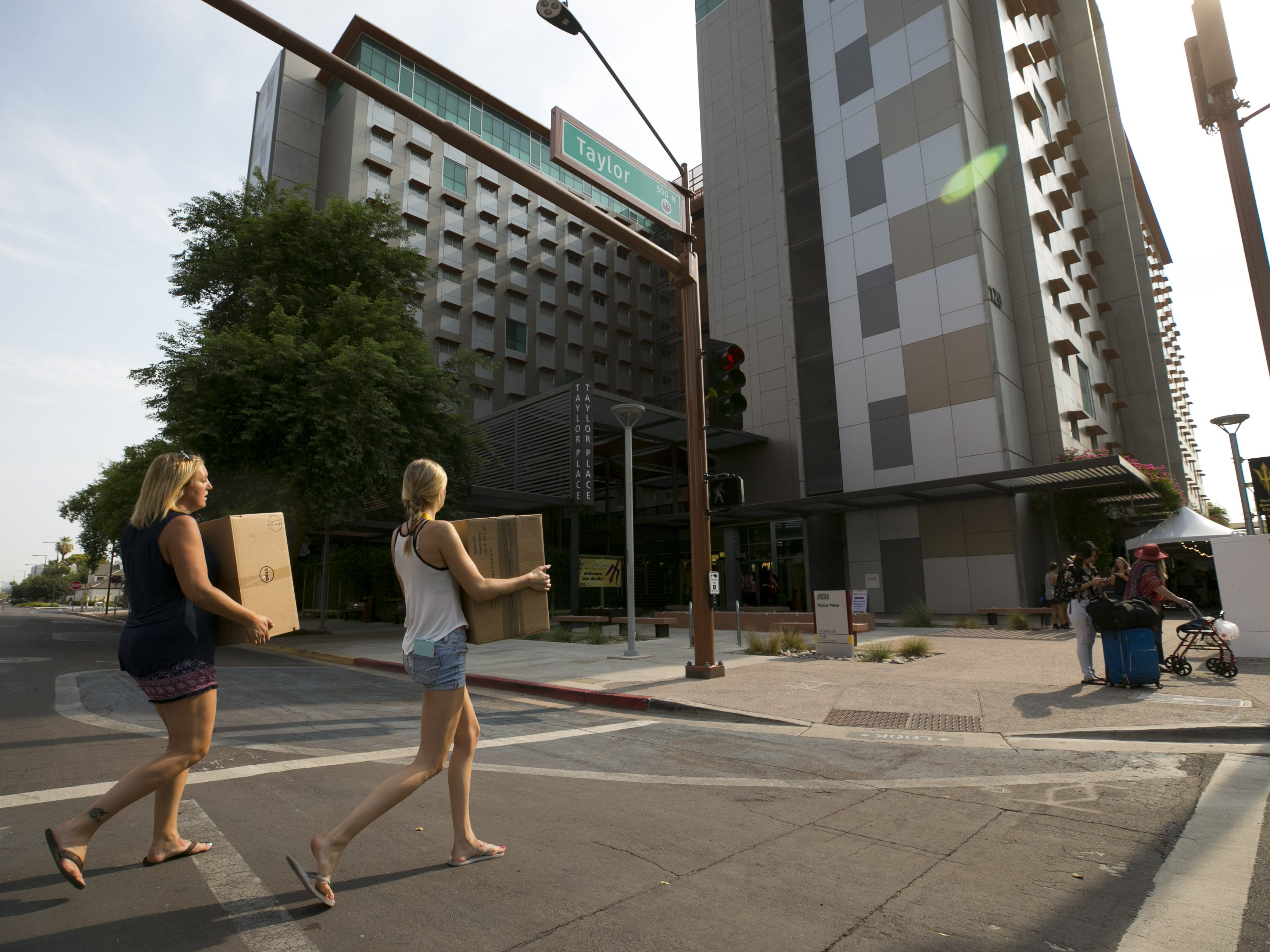 ASU move-in day at the Taylor Place dorm on the ASU downtown Phoenix campus on Aug. 10, 2018. The downtown Phoenix dorm opened in 2008.