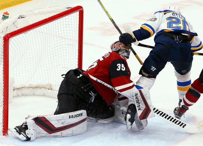 Arizona Coyotes goaltender Darcy Kuemper (35) gets hit on the helmet by St. Louis Blues left wing Alexander Steen (20) during the third period of an NHL hockey game Thursday, Feb. 14, 2019, in Glendale, Ariz. The Blues won 4-0. (AP Photo/Ross D. Franklin)