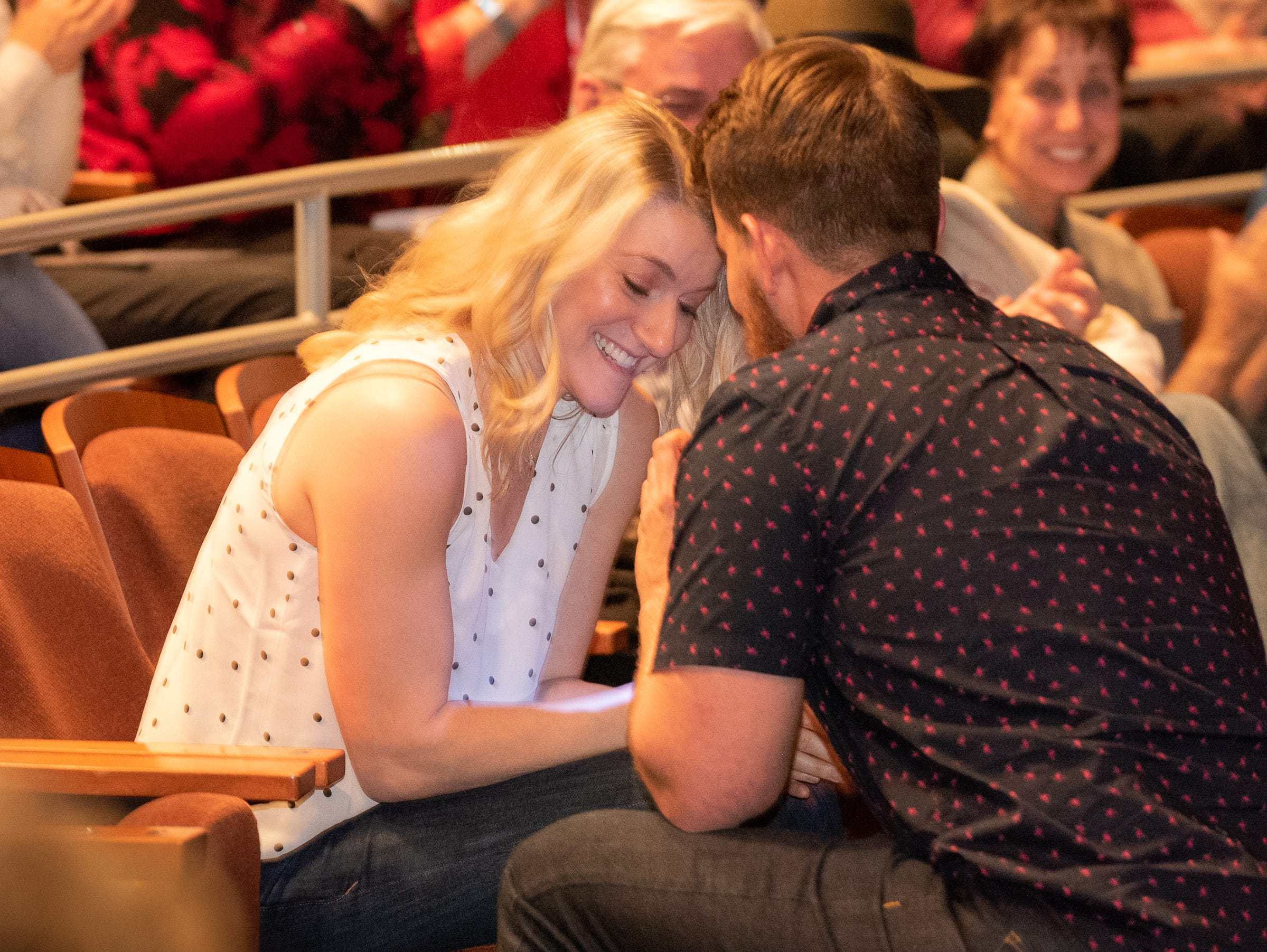 Josh Shore ends his tale by proposing to his now fiancé during The Storytellers Project presents Romance - or Not at the Scottsdale Center for Performing Arts on Wednesday, Feb. 13, 2019.