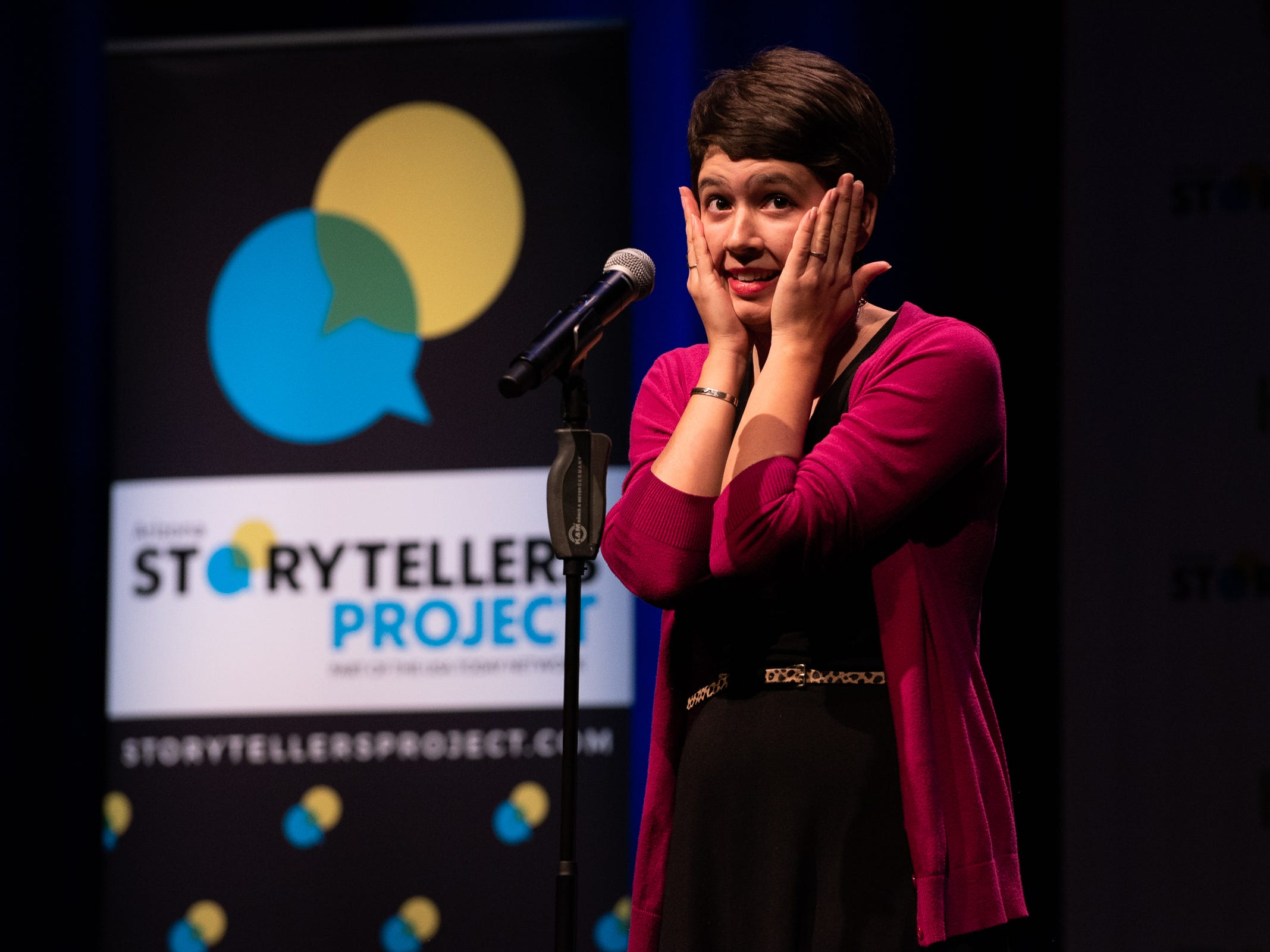 Eva Jannotta tells her tale during The Storytellers Project presents Romance - or Not at the Scottsdale Center for Performing Arts on Wednesday, Feb. 13, 2019.
