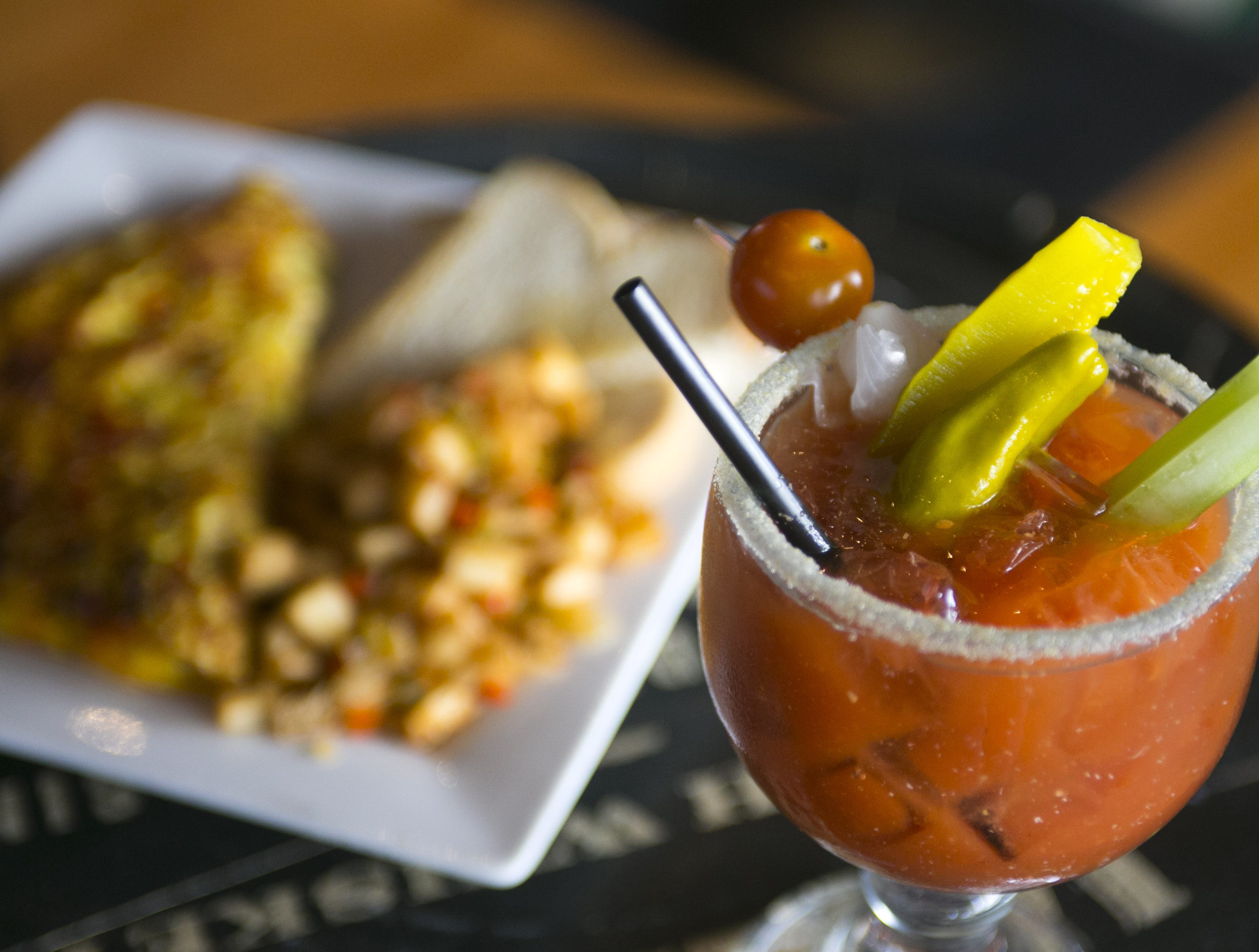 A well-garnished Bloody Mary goes perfectly with an omelet at the Arcadia Tavern.