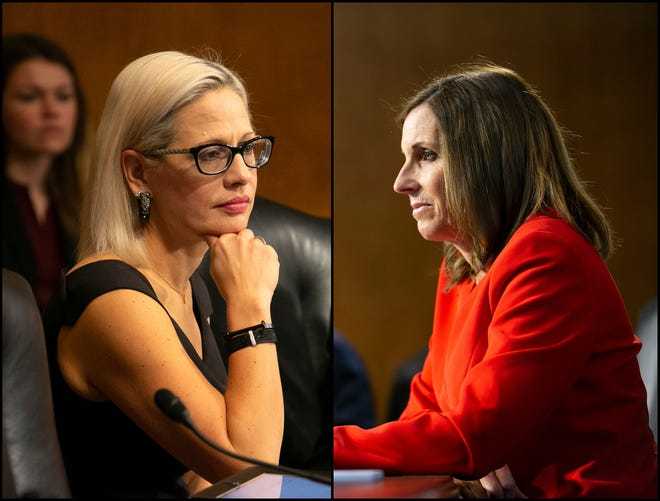 (Left) U.S. Sen. Kyrsten Sinema, D-Ariz., listens during the U.S. Senate Special Committee on Aging at the U.S. Capitol in Washington, D.C., on Feb. 6, 2019. (Right) U.S. Sen. Martha McSally, R-Ariz., listens during the U.S. Senate Committee on Energy and Natural Resources hearing at the U.S. Capitol on Feb. 5, 2019.