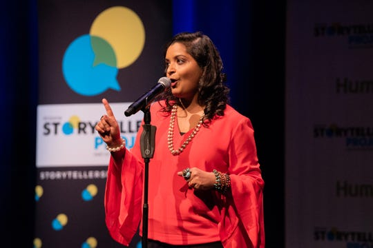 "Parul Agrawal tells her tale during ""Arizona Storytellers: Romance or Not"" at the Scottsdale Center for Performing Arts on Wednesday, Feb. 13, 2019."