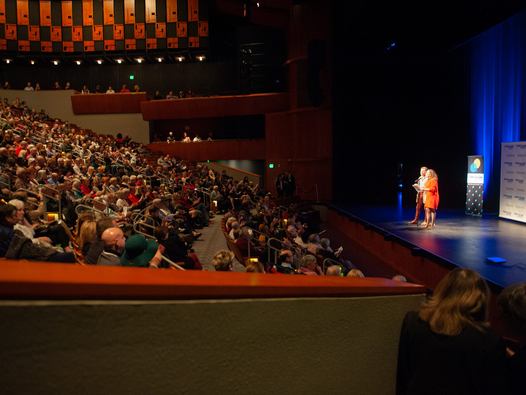 """Co-Hosts Garrett Mitchell and Megan Finnerty warm  up the crowd and announce the next storyteller during """"Arizona Storytellers: Romance or Not"""" at the Scottsdale Center for Performing Arts on Wednesday, Feb. 13, 2019."""