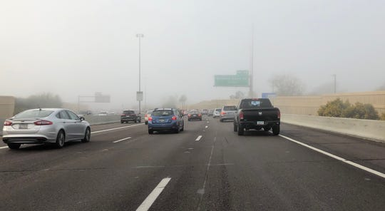 Early-morning fog in Phoenix on Feb. 15, 2019, on State Route 51.