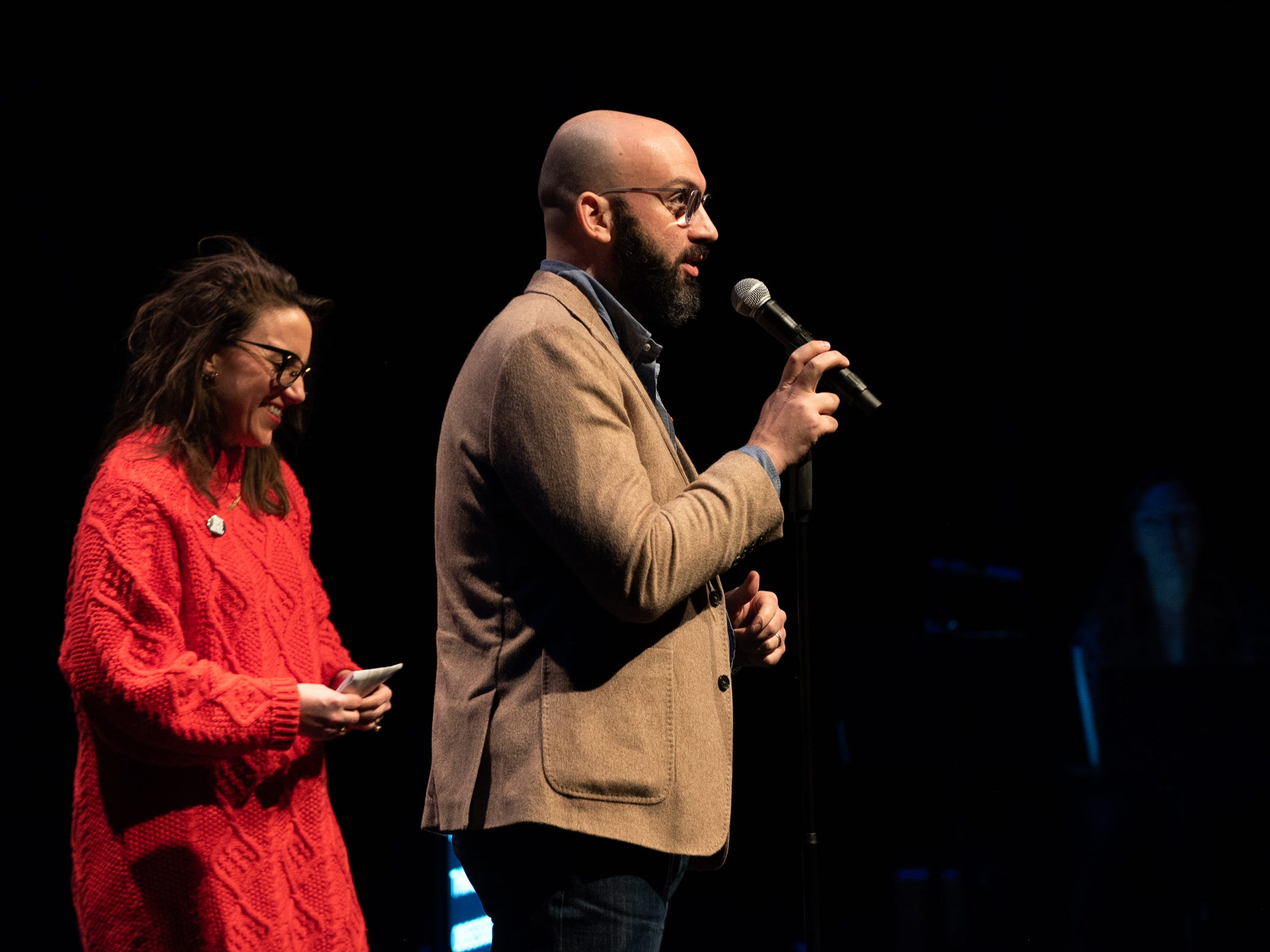 """Vince Malouf and Megan Finnerty tell their tale during """"Arizona Storytellers: Romance or Not"""" at the Scottsdale Center for Performing Arts on Wednesday, Feb. 13, 2019."""