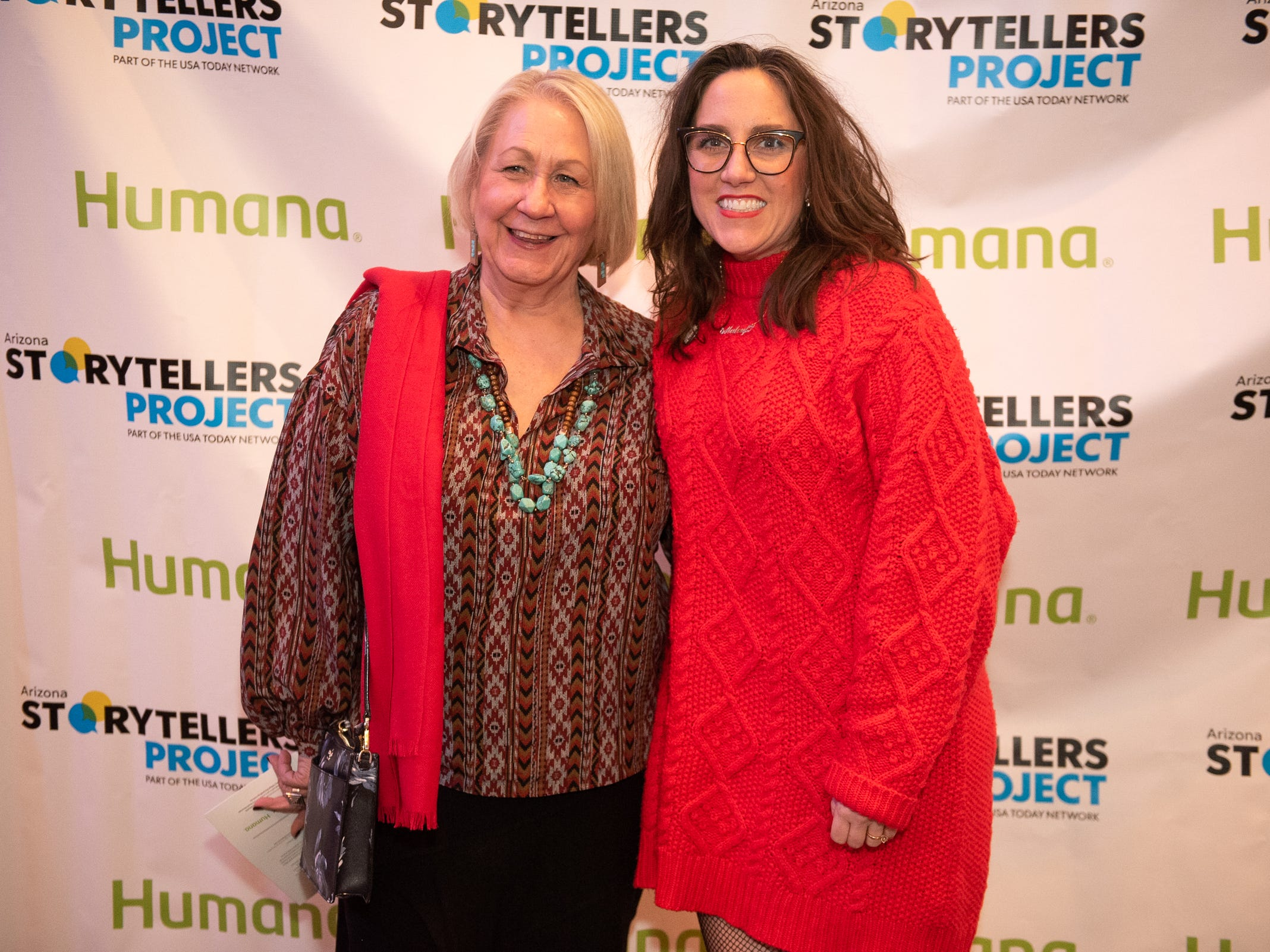 """Liz Warren and Megan Finnerty strike a pose at the Humana/Storytellers Project step and repeat during """"Arizona Storytellers: Romance or Not"""" at the Scottsdale Center for Performing Arts on Wednesday, Feb. 13, 2019."""