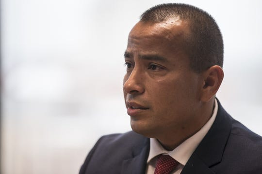 Phoenix mayoral candidate Daniel Valenzuela speaks during a meeting with The Arizona Republic's editorial board on Feb. 14, 2019, in Phoenix.