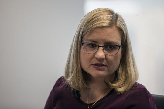 Phoenix mayoral candidate Kate Gallego speaks during a meeting with The Arizona Republic's editorial board on Feb. 14, 2019, in Phoenix.