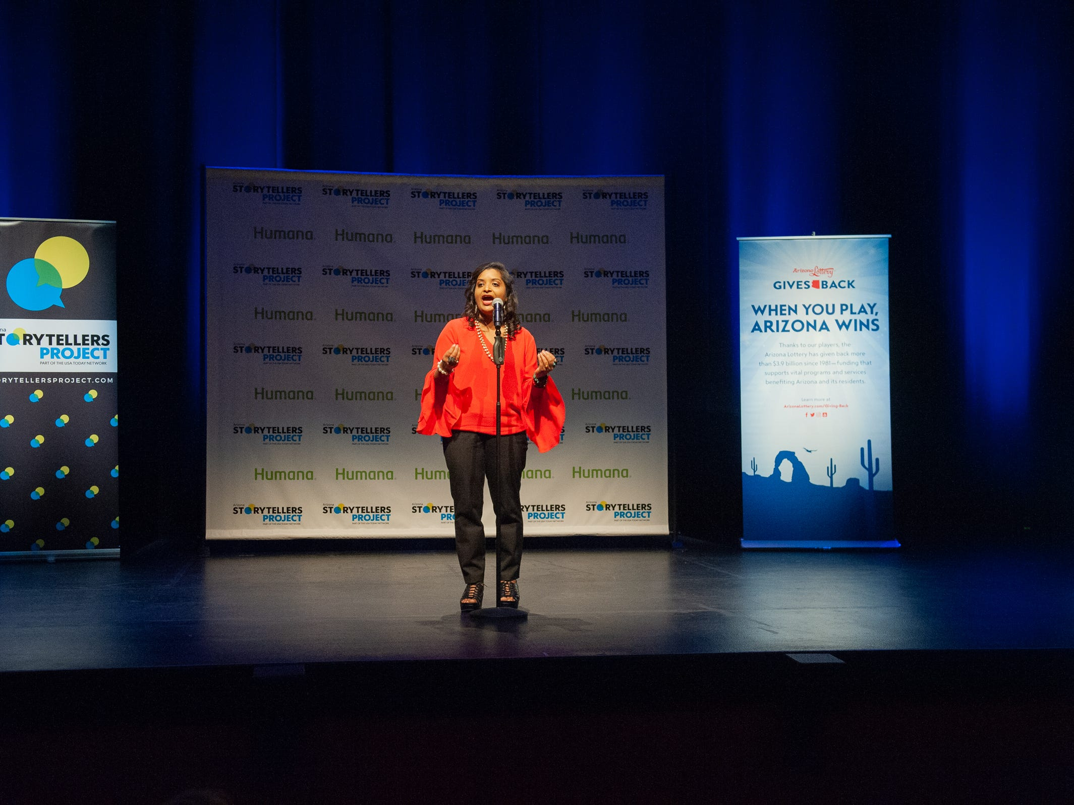 """Parul Agrawal tells her tale during """"Arizona Storytellers: Romance or Not"""" at the Scottsdale Center for Performing Arts on Wednesday, Feb. 13, 2019."""