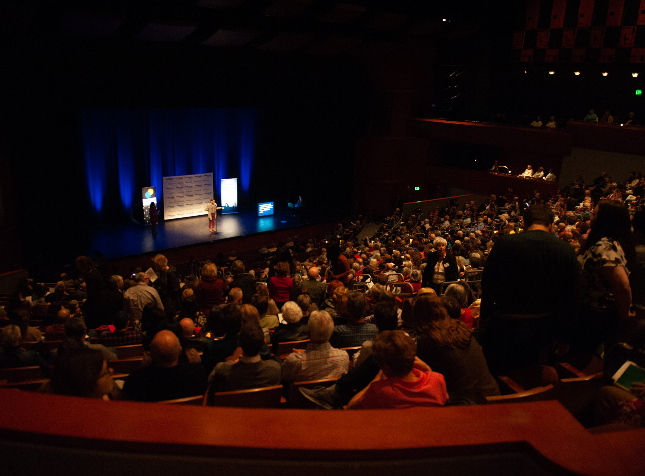 Co-Host Garrett Mitchell warms  up the crowd and announces the next storyteller during The Storytellers Project presents Romance - or Not at the Scottsdale Center for Performing Arts on Wednesday, Feb. 13, 2019.