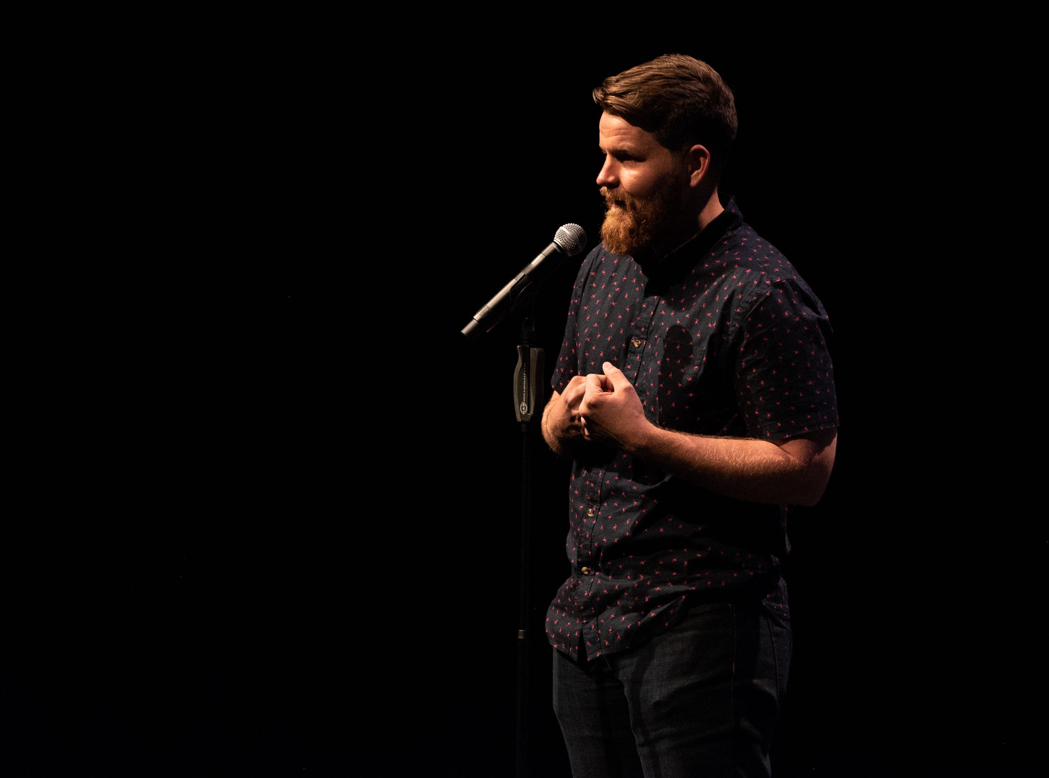 """Josh Shore shares his story with the audience during """"Arizona Storytellers: Romance or Not"""" at Scottsdale Center for the Performing Arts in Scottsdale, Ariz., Wednesday, Feb. 13, 2019."""