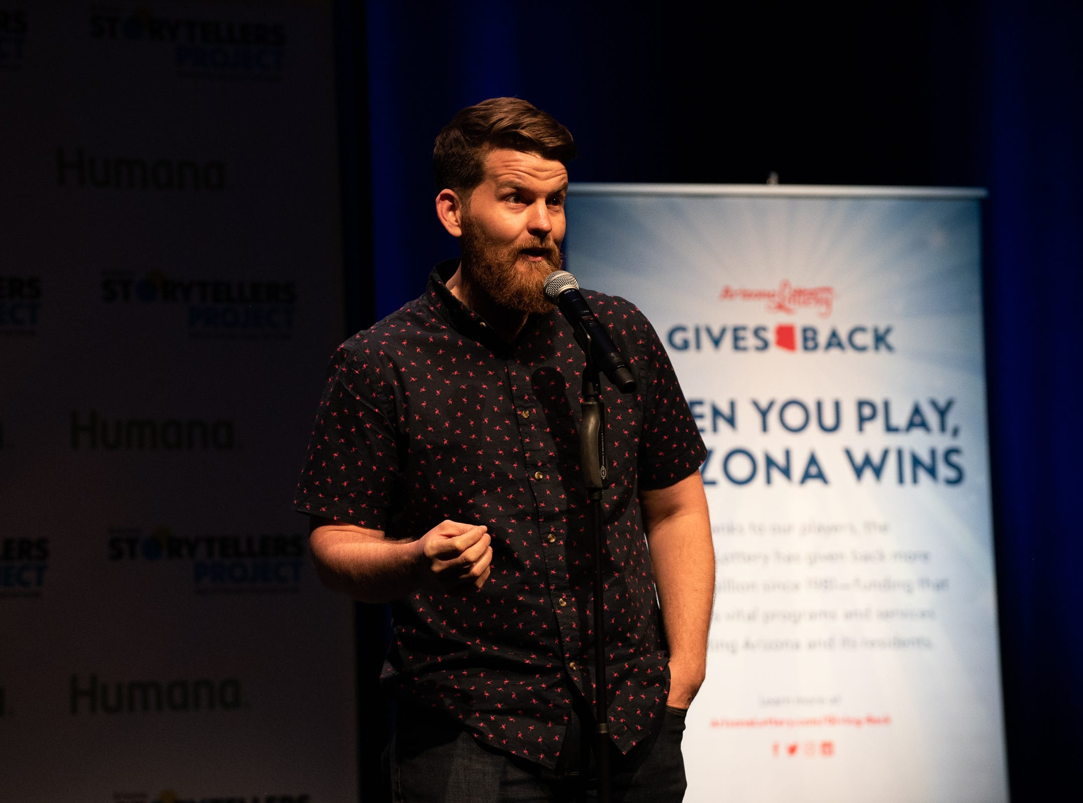 Josh Shore tells his tale with a surprise ending during The Storytellers Project presents Romance - or Not at the Scottsdale Center for Performing Arts on Wednesday, Feb. 13, 2019.