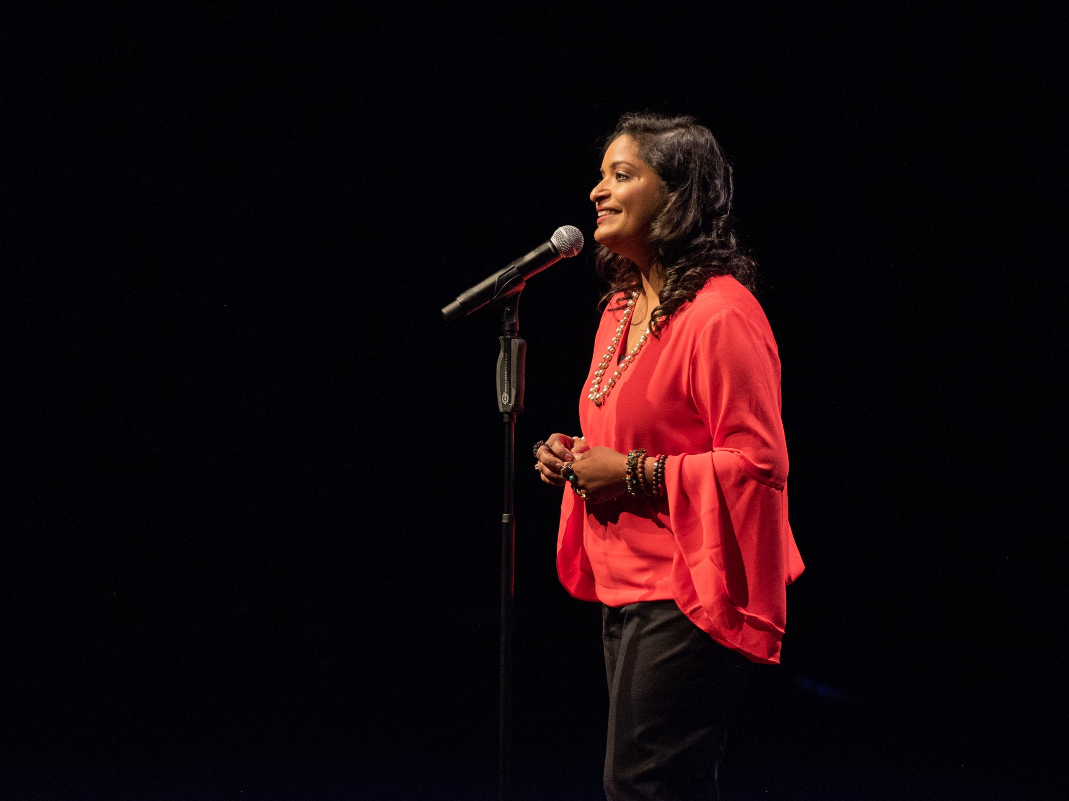 Parul Agrawal tells her tale during The Storytellers Project presents Romance - or Not at the Scottsdale Center for Performing Arts on Wednesday, Feb. 13, 2019.