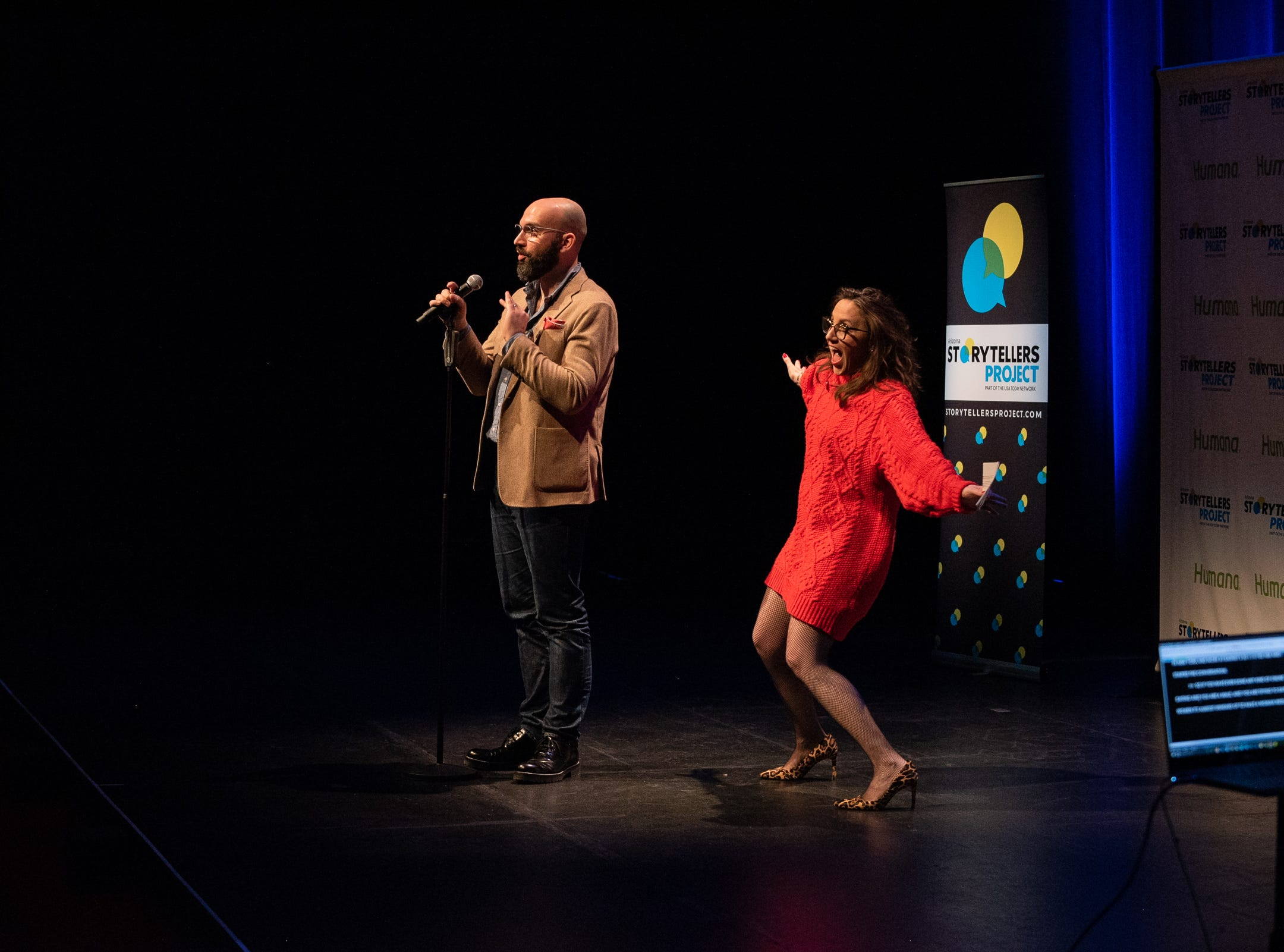 Vince Malouf and Megan Finnerty tell their tale during The Storytellers Project presents Romance - or Not at the Scottsdale Center for Performing Arts on Wednesday, Feb. 13, 2019.