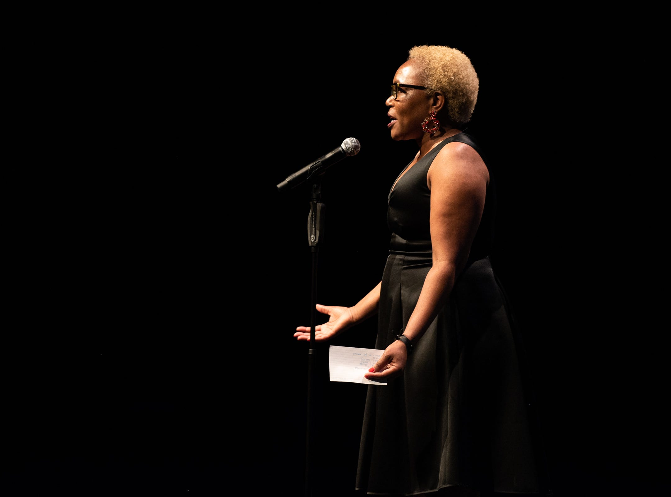 Kanu Jacobsen tells her tale of romance during The Storytellers Project presents Romance - or Not at the Scottsdale Center for Performing Arts on Wednesday, Feb. 13, 2019.