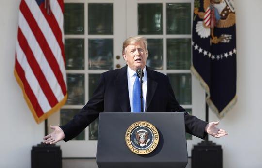 El presidente estadounidense, Donald Trump, ofrece una rueda de prensa este viernes en el Capitolio de Washington