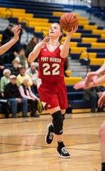 Port Huron High School forward Julia Gilbert looks to shoot the ball during an MAC tournament basketball game Thursday, Feb. 14, 2019 at Port Huron Northern High School.