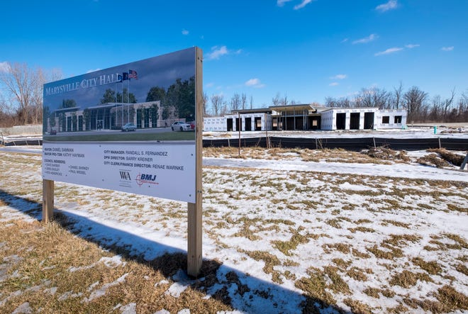 Construction is moving forward on the new Marysville City Hall, located on Delaware Avenue in Marysville.