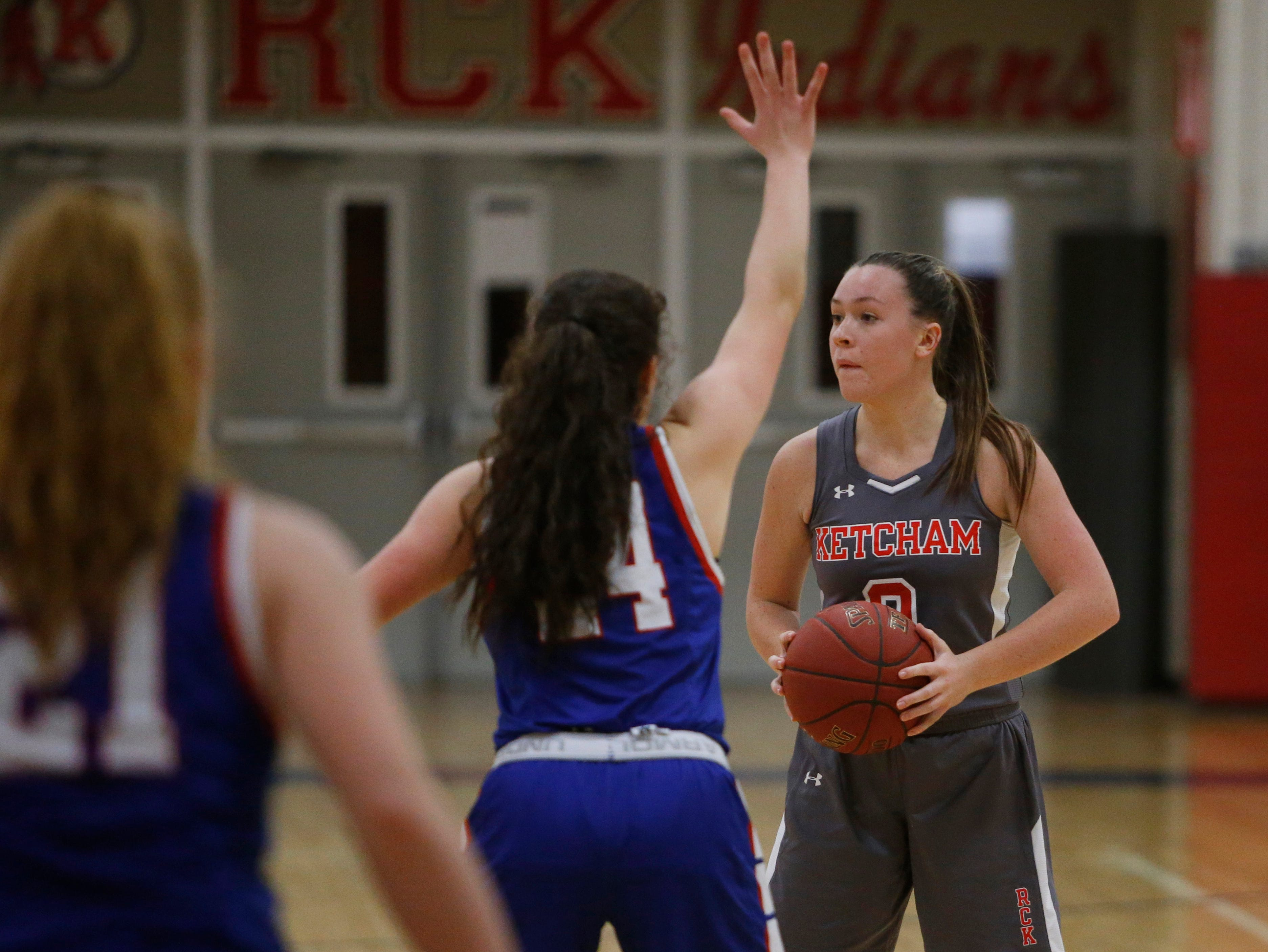 Action from Thursday's game between Roy C. Ketcham and Carmel on February 14, 2019. Katie Wall scored her 2000th point during the game.