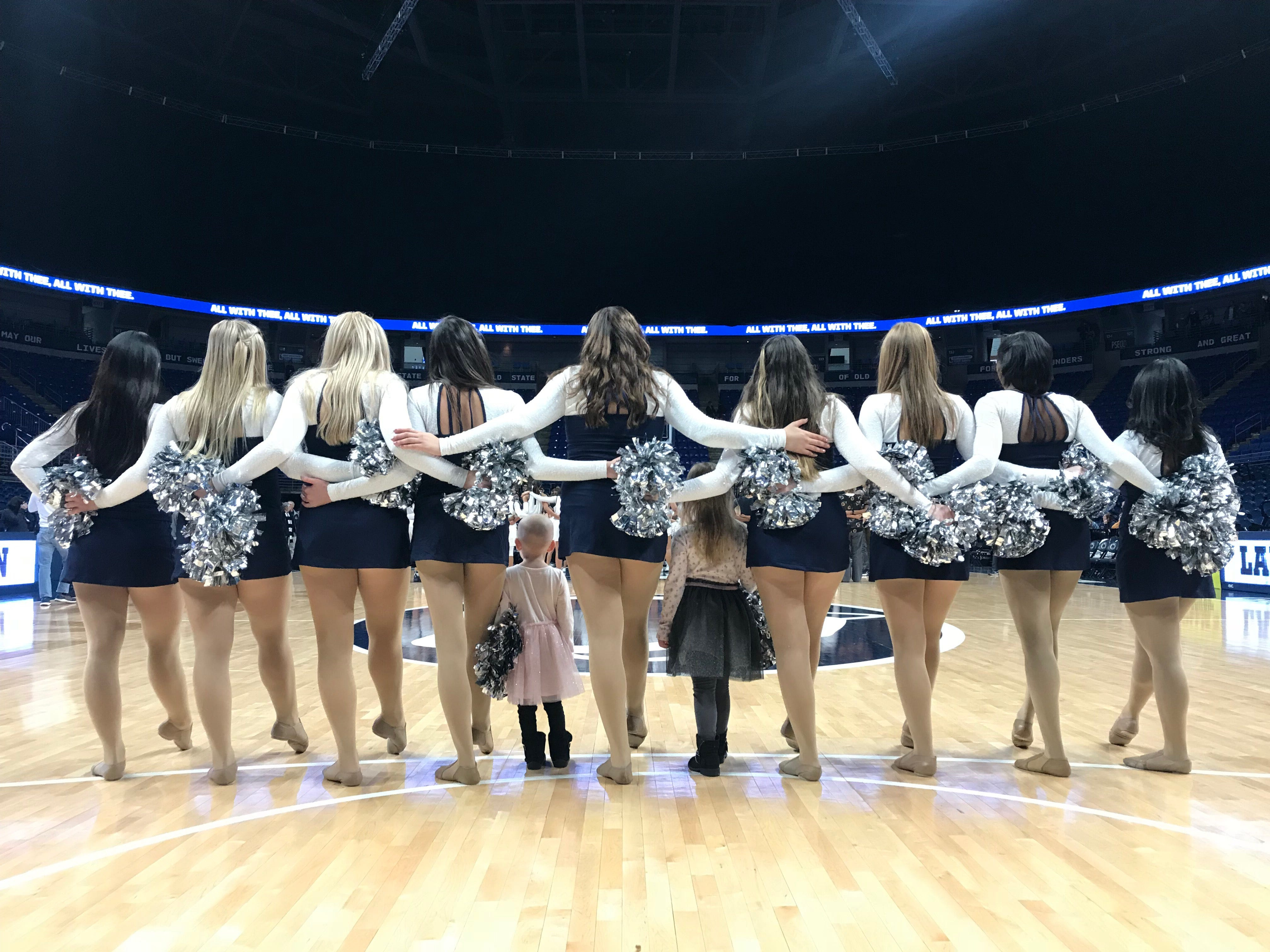 The Lionettes show Shiloh and her older sister, Harper, how to be a part of the Penn State Dance Team.