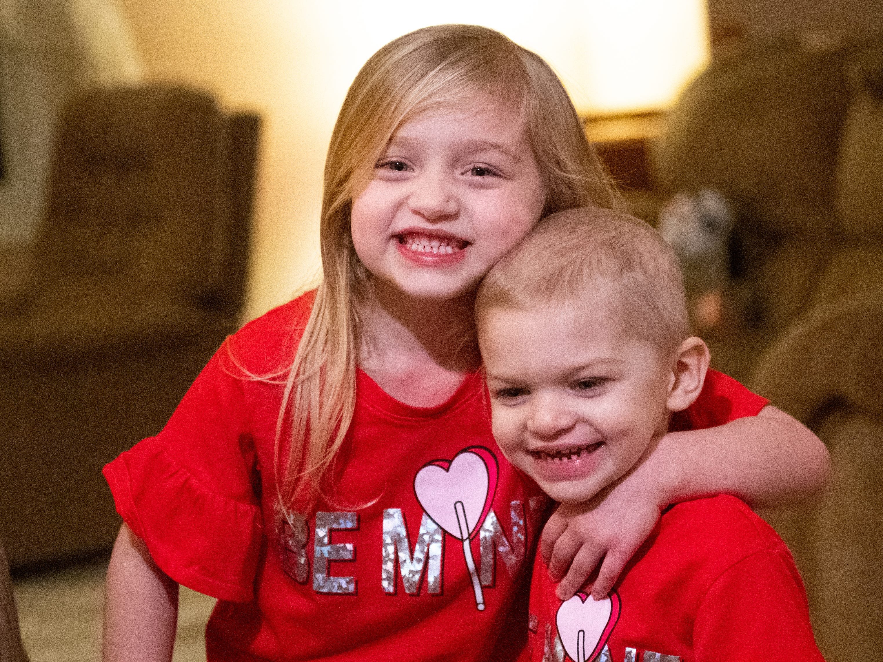 Harper Crimmel, 4, and her little sister Shiloh, 2, wore matching Valentine's Day outfits this week. Shiloh was diagnosed with cancer last year, but she and her family are receiving great support from members of the Penn State community and will participate in this weekend's THON.