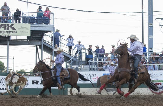 Action from the Team Roping event during the Reno Rodeo on June 23, 2018.