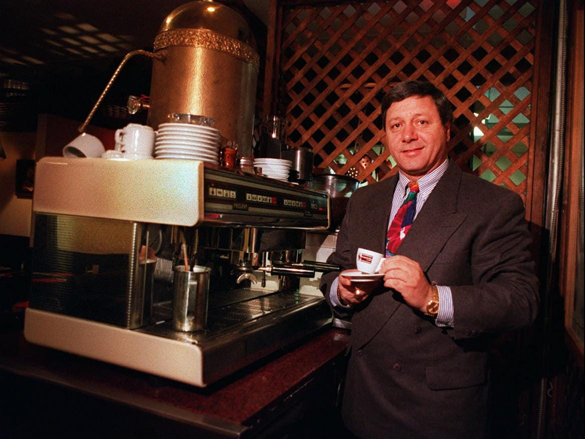 Mario's Restaurant owner Mario Daniele with the Nuova Simonelli expresso machine back in 1995.
