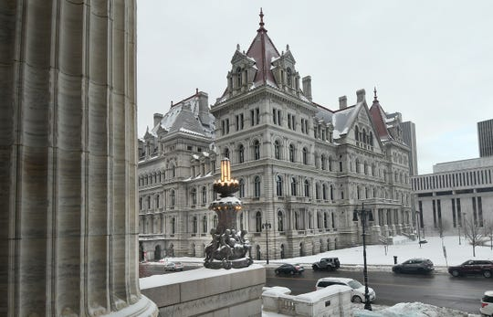Exterior view of the New York state Capitol as seen from the steps of the New York state Education Department Building Wednesday, Feb. 13, 2019, in Albany, N.Y.