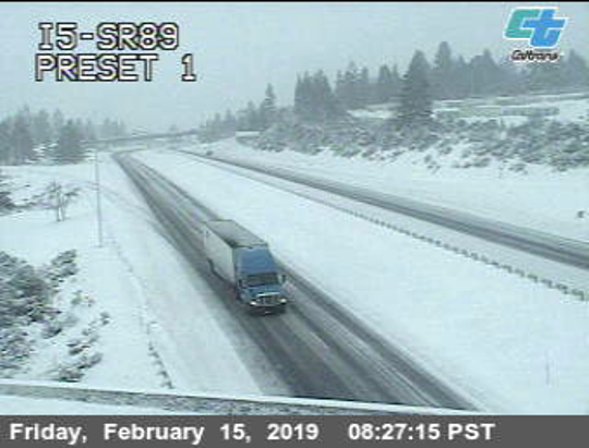 Drivers taking Interstate 5 in Siskiyou County can expect snowy roadside conditions Friday, Feb. 15, 2019. This Caltrans image shows I-5 at Highway 89.