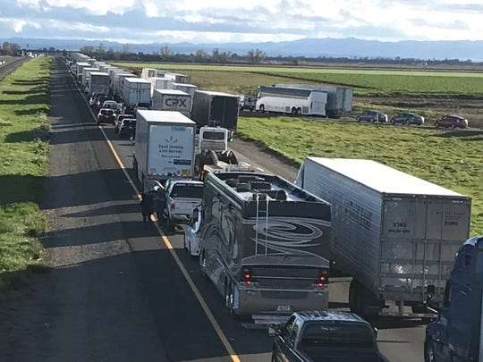 Motorists on southbound Interstate 5 on Thursday experienced a seven-mile backup at Maxwell in Colusa County due to flooding. That stretch of the interstate has since reopened.