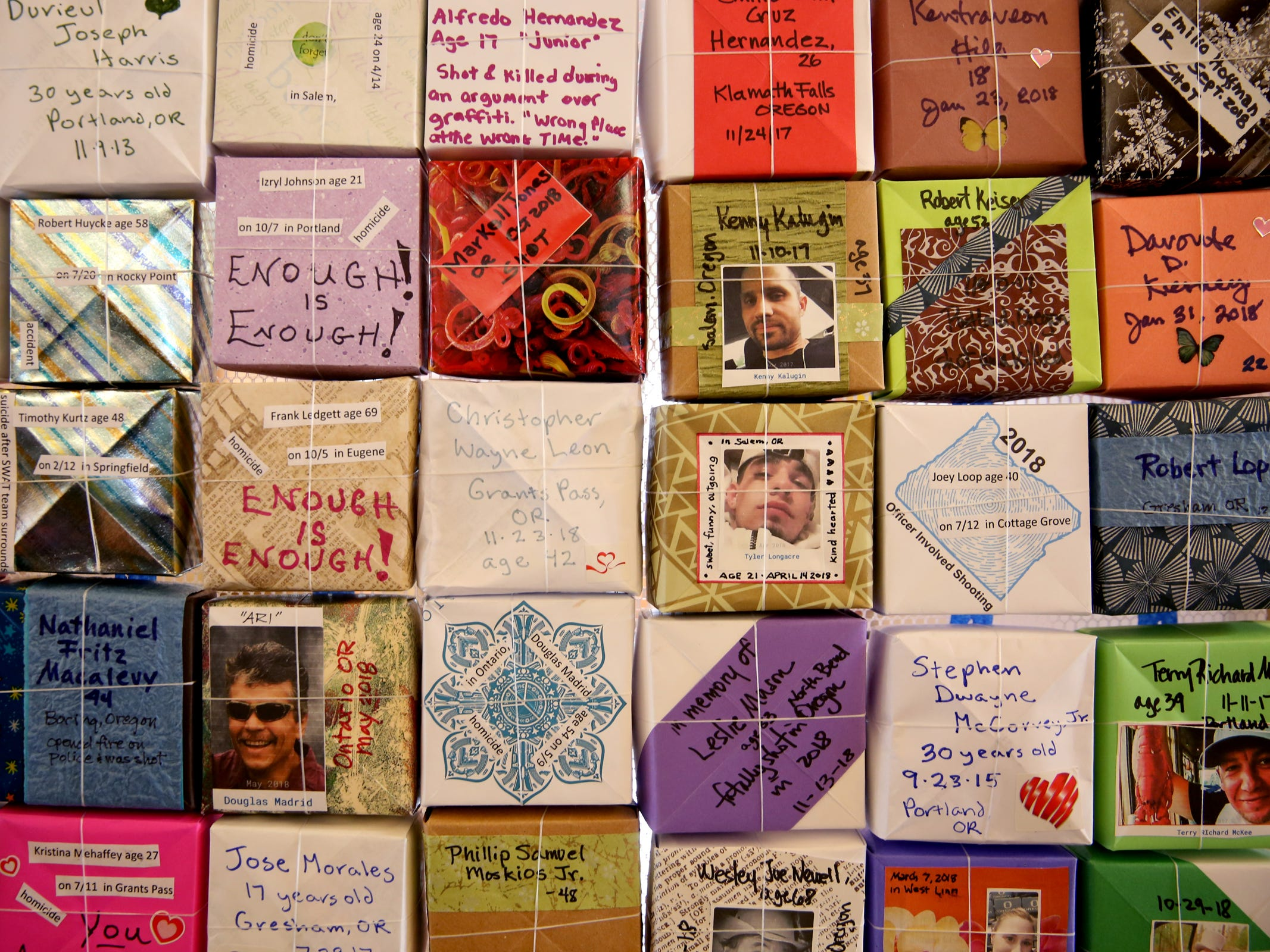 More than 37,000 handmade origami boxes, representing victims of gun violence, are displayed at the Oregon State Capitol in Salem on Friday, Feb. 15, 2019. The Soul Box Project, started by Portland artist Leslie Lee, aims to reveal the enormity of the gun fire epidemic.