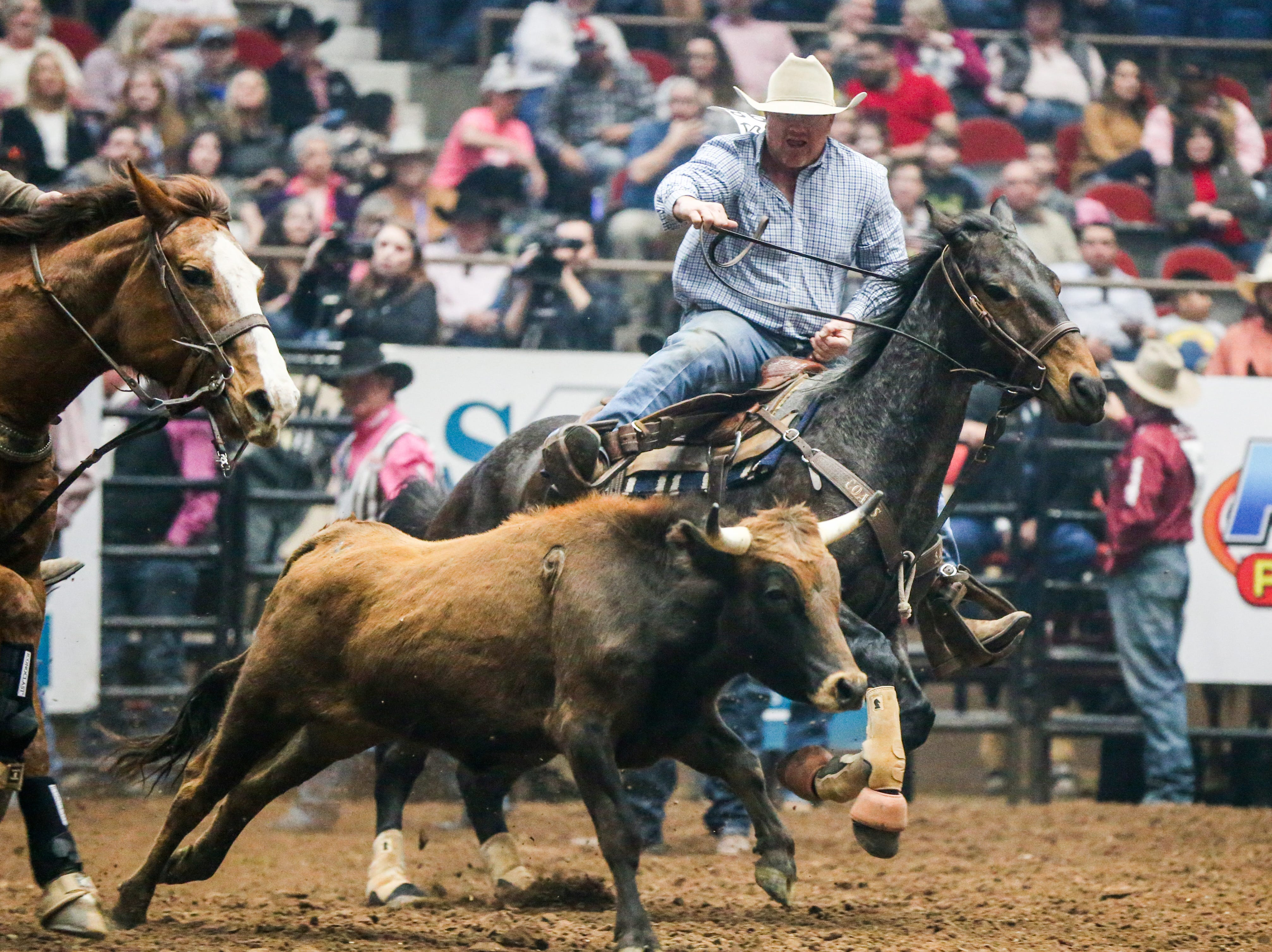Stockton Graves rides out to steer wrestle during the San Angelo Stock Show & Rodeo performance Thursday, Feb. 14, 2019, at Foster Communications Coliseum.