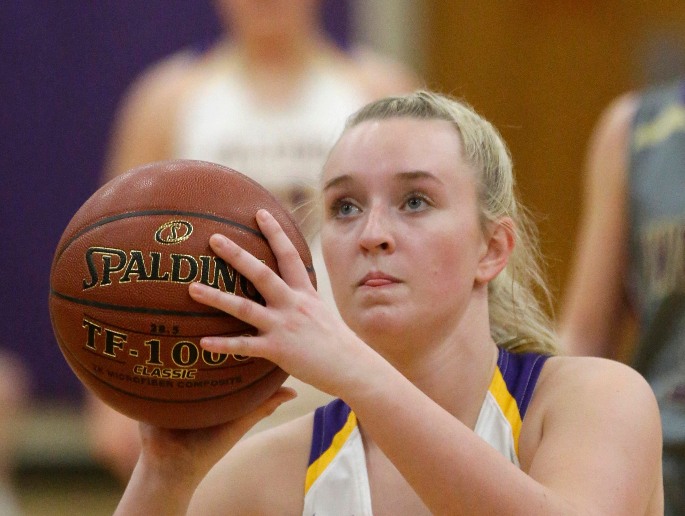Sheboygan Falls' Kayla Zeier (13) aims a free throw against Two Rivers, Thursday, February 14, 2019, in Sheboygan Falls, Wis.
