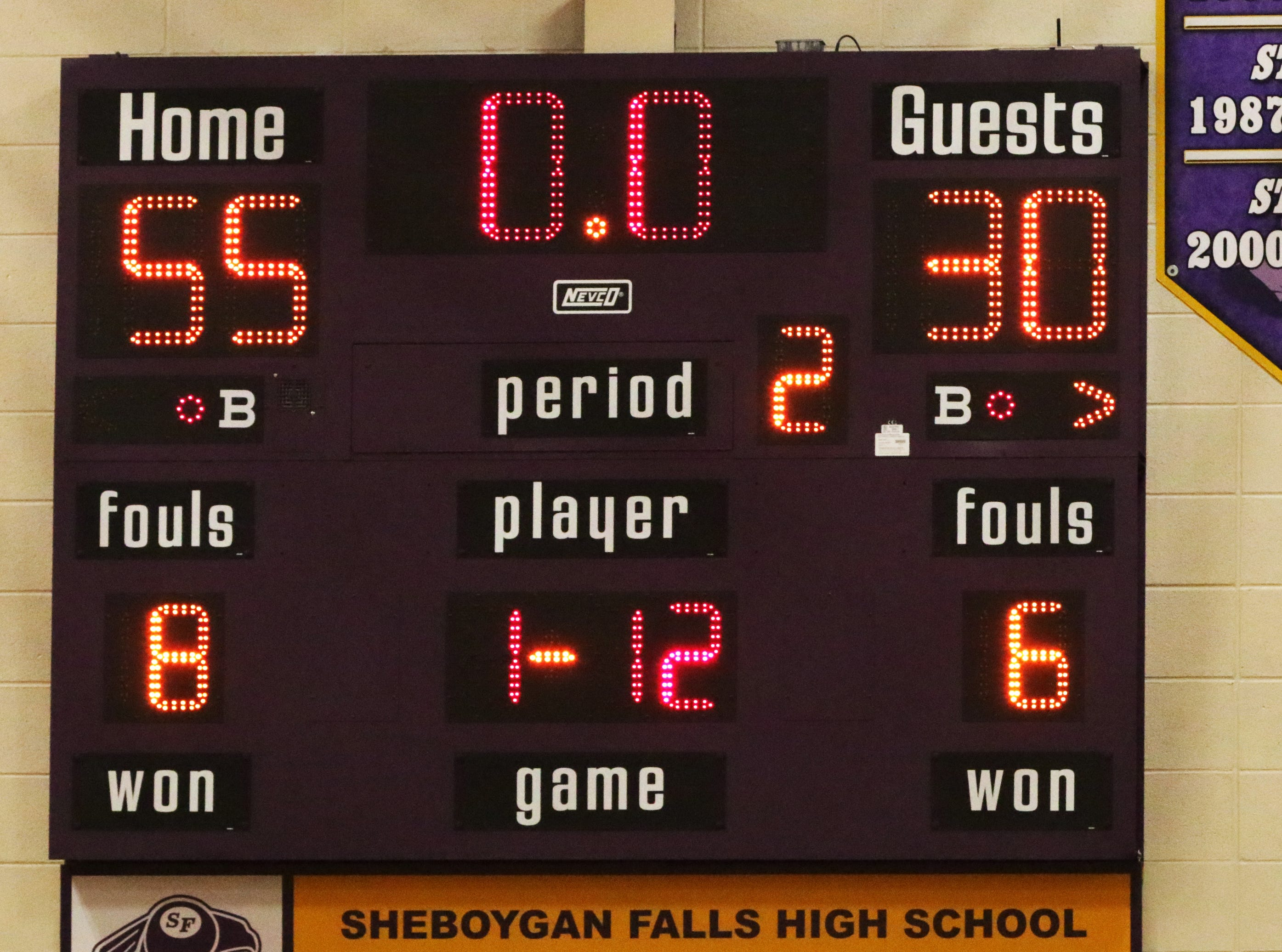 FINAL - Sheboygan Falls 55, Two Rivers 30, Thursday, February 14, 2019, in Sheboygan Falls, Wis.