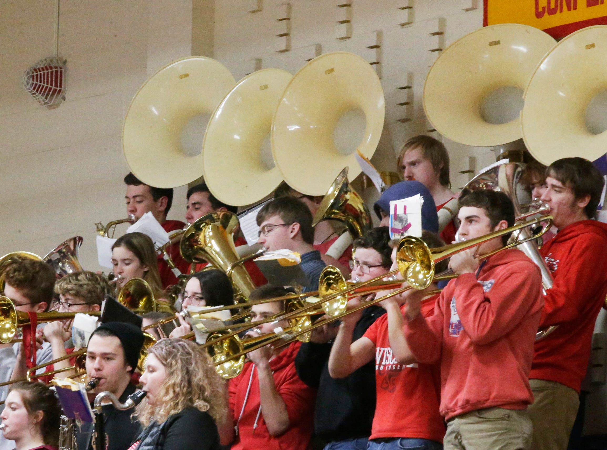 The Sheboygan Falls pep band performs before the game with Two Rivers girls, Thursday, February 14, 2019, in Sheboygan Falls, Wis.