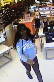 One of the female suspects seen on Ulta surveillance in Bossier.
